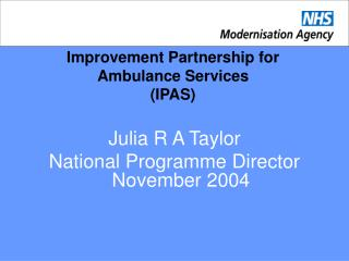 Improvement Partnership for Ambulance Services (IPAS)
