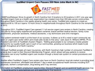 fastMed Urgent Care Passes 200 New Jobs Mark in NC