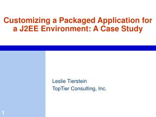 Customizing a Packaged Application for a J2EE Environment: A Case Study