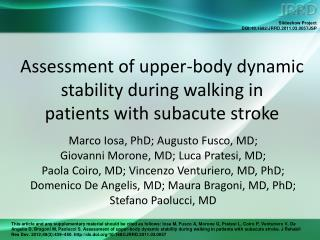 Assessment of upper-body dynamic stability during walking in  patients with subacute stroke