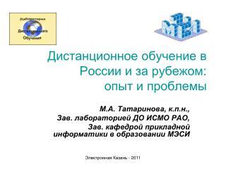 Дистанционное обучение в России и за рубежом:  опыт и проблемы
