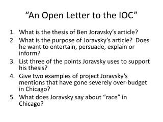 """An Open Letter to the IOC"""