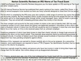 Norton Scientific Reviews on IRS Warns of Tax Fraud Scam