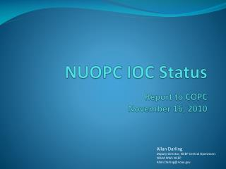 NUOPC IOC Status  Report to COPC November 16, 2010