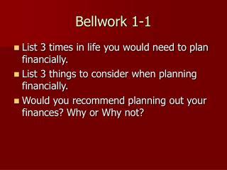 Bellwork 1-1