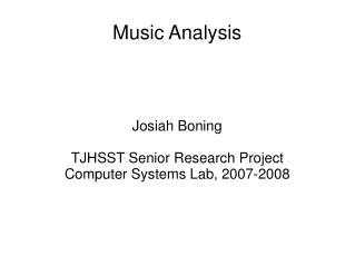 Music Analysis