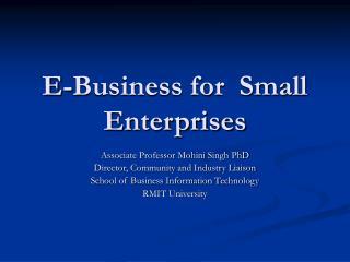 E-Business for  Small Enterprises