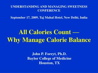 UNDERSTANDING AND MANAGING SWEETNESS CONFERENCE