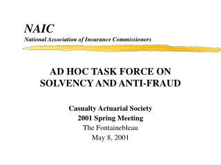NAIC National Association of Insurance Commissioners