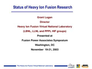 Status of Heavy Ion Fusion Research