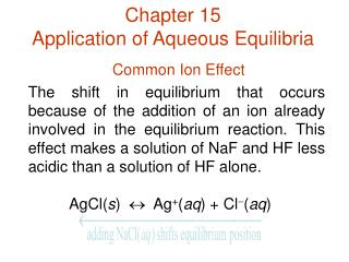 Chapter 15 Application of Aqueous Equilibria