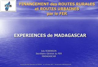FINANCEMENT des ROUTES RURALES  et ROUTES URBAINES  par le FER