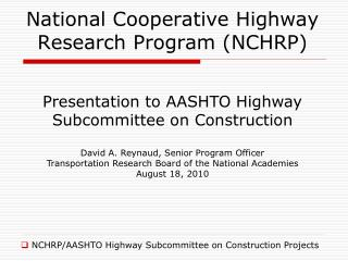 National Cooperative Highway Research Program NCHRP