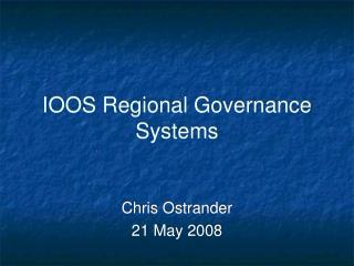 IOOS Regional Governance Systems