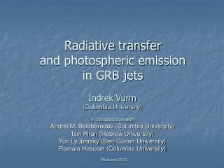 Radiative transfer and photospheric emission in GRB jets