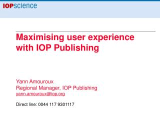 Maximising user experience with IOP Publishing