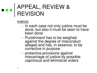APPEAL, REVIEW & REVISION