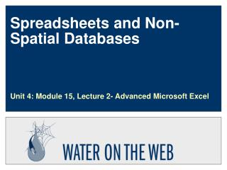 Spreadsheets and Non-Spatial Databases