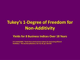 Tukey's 1-Degree of Freedom for Non-Additivity