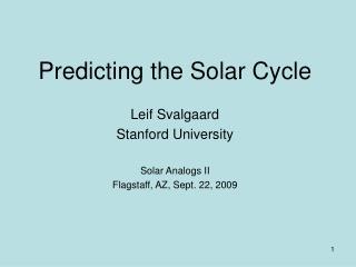 Predicting the Solar Cycle