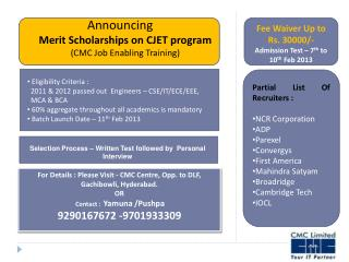 Announcing  Merit Scholarships on CJET program (CMC Job Enabling Training)
