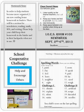 I.O.E.S. Room #103 Newsweek Sept.  2 rd -6 th ,  2013  Student:__________