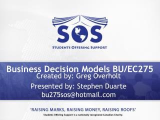 Business Decision Models BU/EC275