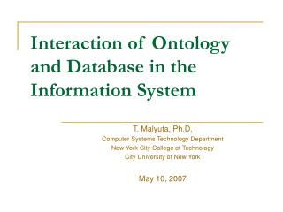 Interaction of Ontology and Database in the Information System