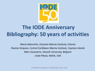 The IODE Anniversary Bibliography: 50 years of activities