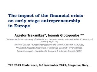 The impact of the financial crisis on early-stage entrepreneurship  in Europe