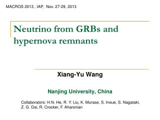 Neutrino from GRBs and hypernova remnants