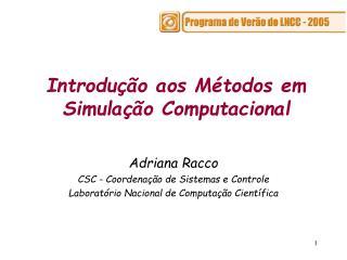 Introdução aos Métodos em Simulação Computacional