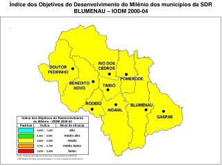 Índice dos Objetivos do Desenvolvimento do Milênio dos municípios da SDR BLUMENAU – IODM 2000-04