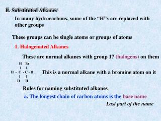 B. Substituted Alkanes