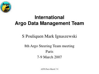 International Argo Data Management Team