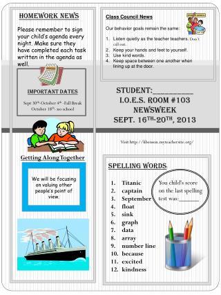 Student:__________ I.O.E.S. Room #103 Newsweek Sept.  16 th -20 th , 2013