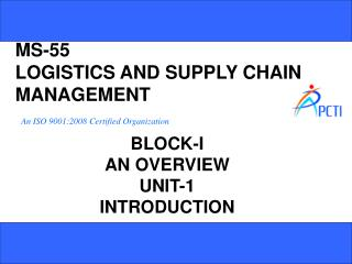 MS-55 LOGISTICS AND SUPPLY CHAIN MANAGEMENT