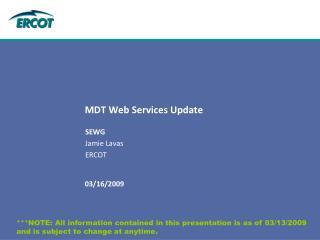 MDT Web Services Update