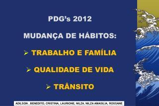 PDG's 2012 MUDANÇA DE HÁBITOS:  TRABALHO E FAMÍLIA  QUALIDADE DE VIDA  TRÂNSITO