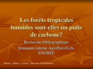 Les for ts tropicales humides sont-elles un puits de carbone