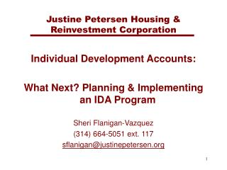 Justine Petersen Housing  Reinvestment Corporation