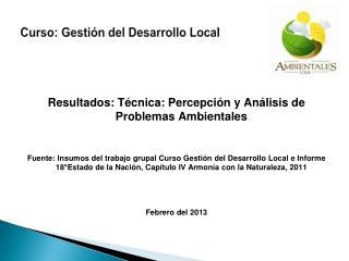 Curso: Gestión del Desarrollo Local