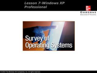 Lesson 7-Windows XP  Professional