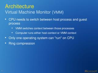 Architecture Virtual Machine Monitor ( VMM )