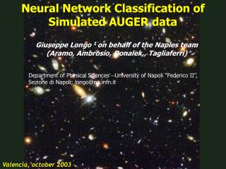 Neural Network Classification of Simulated AUGER data