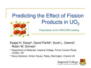 Predicting the Effect of Fission                                        Products in UO 2