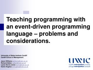 Teaching programming with an event-driven programming language – problems and considerations.