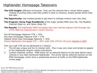 Highlander Homepage Takeovers