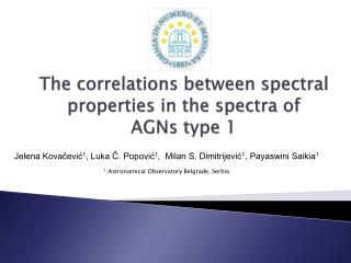 The correlations between spectral properties in the spectra of  AGNs type 1