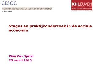 Stages en praktijkonderzoek in de sociale economie